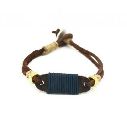 Mens Bracelet - Handcrafted Recycled Leather, Jute Chord, Copper Plaque, Steel Washers, Aluminum Loop - B8010