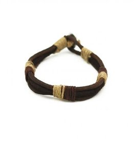Mens Bracelet - Handcrafted Recycled Leather, Jute, Brown - B8016