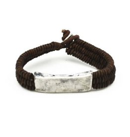 Mens Bracelet - Handcrafted Recycled Leather, Jute, Aluminum Rectangular Plate - B8018