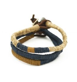 Mens Bracelet - Handcrafted Recycled Leather, Jute, Triple Strand and Color - B8002