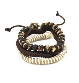 Mens Bracelet - Handcrafted Recycled Leather, Jute, Wooden Beads - B8005
