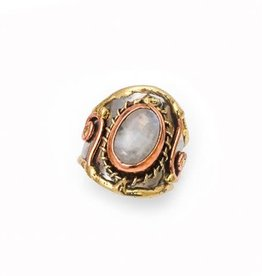 Ring - Moonstone, Stainless Steel with Brass and Copper - R2212