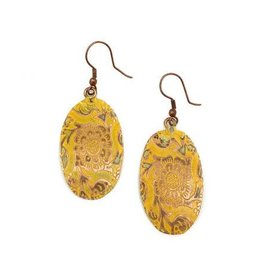 Earrings - Copper Patina - Yellow Oval - EP211