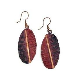 Earrings - Copper Patina - Oval 2 Tone Wine - EP210