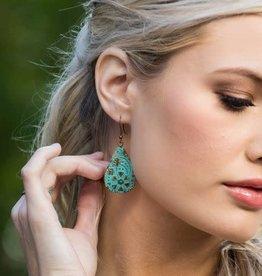 Earrings - Copper Patina - Aqua Tear Drop - EP207