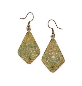 Earrings - Copper Patina - Light Green Oblong Triangle - EP205