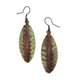 Earrings - Copper Patina - Green and Brown Leaf - EP289