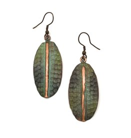 Earrings - Copper Patina - Green with Copper Stripe - EP288