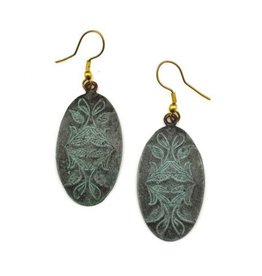 Earrings - Copper Patina - Oval Muted Deep Green - EP284