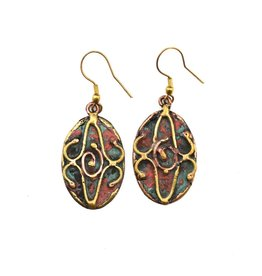 Earrings - Copper Patina - Oval Blue Green - EP243