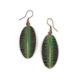 Earrings - Copper Patina - Brown and Green Leaf with Copper Strip - EP202