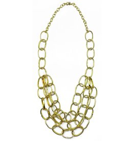Necklace - Gold Plated Bib - 26 inches - NL710G