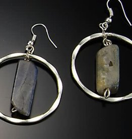 Earrings - Hammered Circle with Labradorite - 1 inch - E340LD