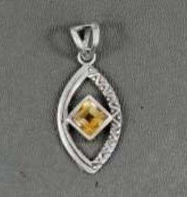 Citrine Evil Eye Sterling Silver Pendant - Pa-21039-690