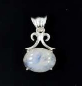 Oval Rainbow Moonstone Sterling Silver Pendant - Pa-21039-01-a112