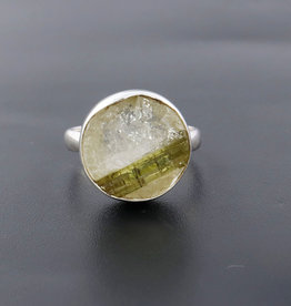 Green Tourmaline and Sterling Silver Ring (Size 8) - R-20229-509-26