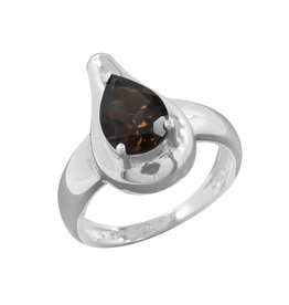 Smoky Quartz and Sterling Silver Ring (Size 6) - R-21375-04-856