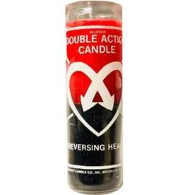 7 Day Candle - Dbl Action Heart, Red-Black