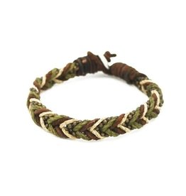 Mens Bracelet - Handcrafted Recycled Leather, Jute, Braided Triple Color - B8011