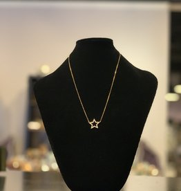 Necklace - Gold Plated Star - Outline