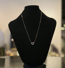 Necklace - Sterling Silver and Cubic Zirconia Heart - Outline