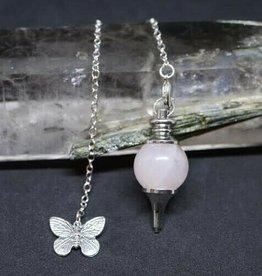Pendulum -  Rose Quartz and Butterfly - 00632