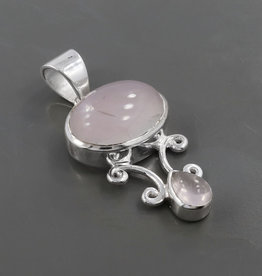 Rose Quartz and Sterling Silver Pend on 18in SS Chain