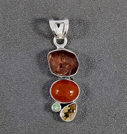 Carnelian, Garnet, Citrine, Opal in Sterling on 18in SS Chain