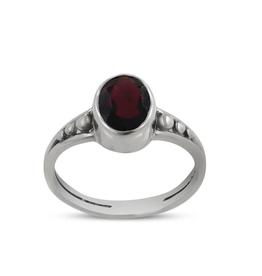 Garnet, Oval, Sterling Silver Ring (Size 8) - AGR-21149-08