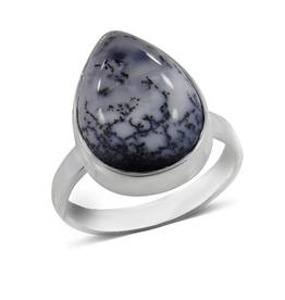 Dendritic Opal, Teardrop, Sterling Silver Ring (Size 8) - AGR-20229-84