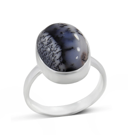 Dendritic Opal, Oval, Sterling Silver Ring (Size 7) - AGR-20229-84