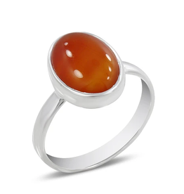 Carnelian and Sterling Silver Ring (Size 8) - AGR-20229-229