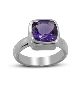 Amethyst, Square, Sterling Silver Ring (Size 8) - AGR-21473