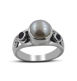 Pearl and Amethyst, Sterling Silver Ring (Size 6) - AGR-21746-01