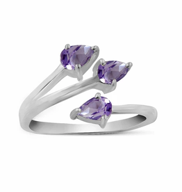 Amethyst, Triple, Sterling Silver Ring (Size 6) - AGR-21286-01