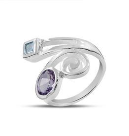 Amethyst, Topaz, Sterling Silver Ring (Size 6) - AGR-20713-11