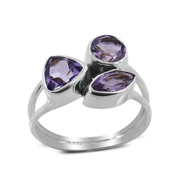 Amethyst, Triple, Sterling Silver Ring (Size 6 1/2) - AGR-20161-03