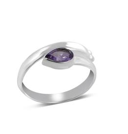 Amethyst, Overlap, Sterling Silver Ring (Size 8) - AGR-21754-03