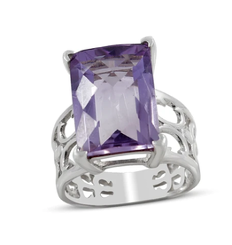 Amethyst, Large, Sterling Silver Ring (Size 6) - AGR-21425-03
