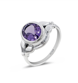 Amethyst and Sterling Silver Ring (Size 8) - AGR-23079