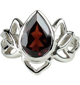 Ring - Lotus Garnet Sterling Silver – (Size 7) - R-218