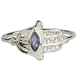 Ring - Healing Hand Hamsa Iolite Sterling Silver – (Size 7) - M-SY28