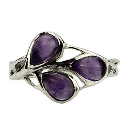 Ring - Amethyst Buds Sterling Silver (Size 7) - R-277
