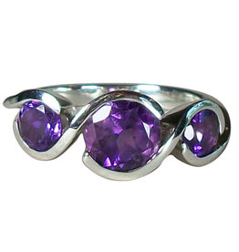 Ring - Amethyst Twister Sterling Silver (Size 6) - R-168