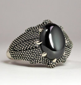 Ring - Hematite Dragon Claw Unisex Sterling Silver (Size 8) - R-422