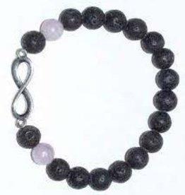 Lava-Kunzite Bracelet w/Infinity charm, 12979