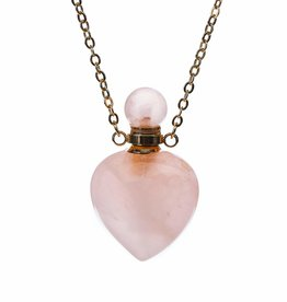 Aromatherapy Necklace - Rose Quartz Heart Sterling Silver - RQHN21