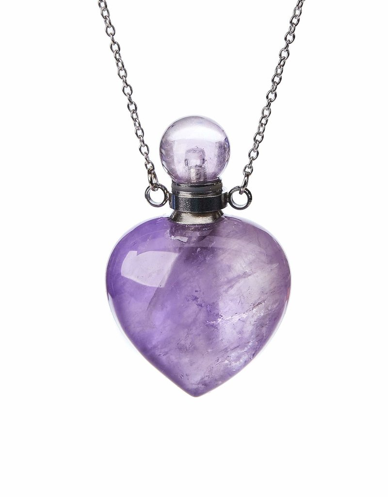 Aromatherapy Necklace - Amethyst Quartz Heart Sterling Silver - AMHN21