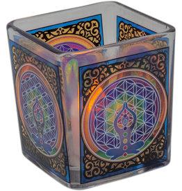 Handcrafted Glass Square Votive Holder - Chakra - 01161