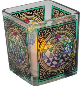 Handcrafted Glass Square Votive Holder - Sri Yantra Chakra - Chakra - 01162